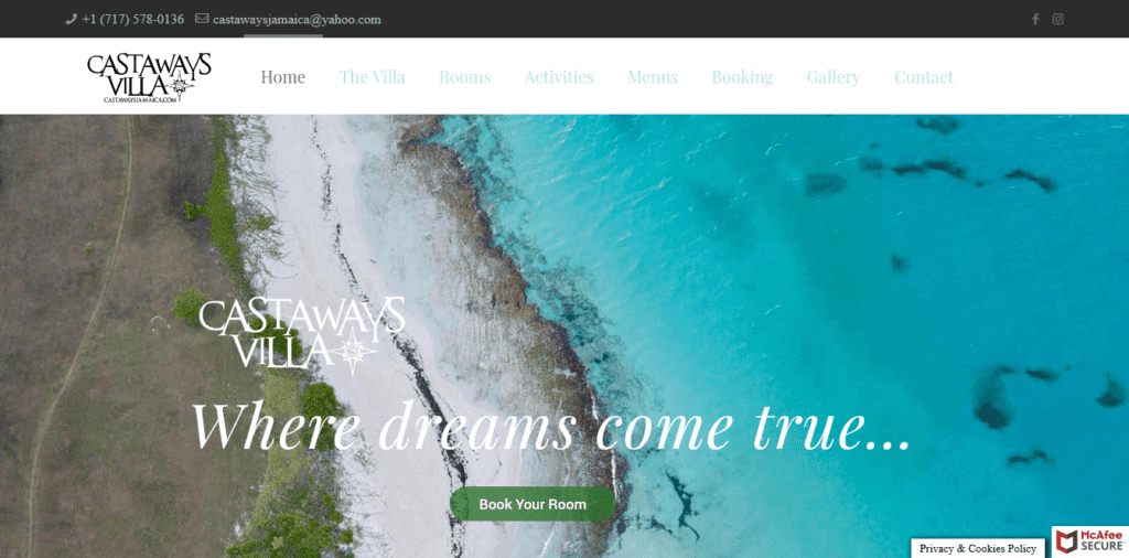 Castaways Villa Jamaica - website design by Focused Idea
