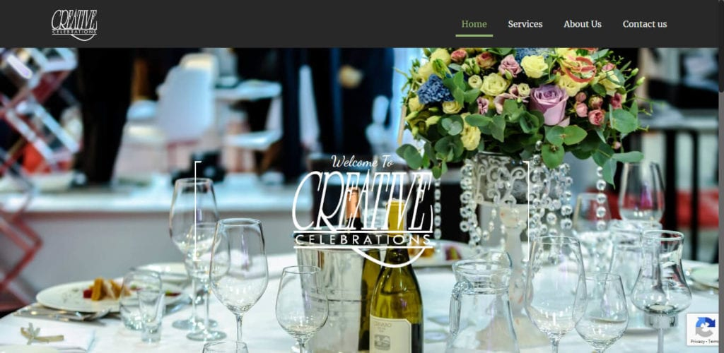 Creative Celebrations - website design by Focused Idea