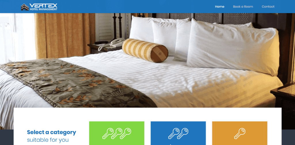 Vertex Hotel Management - website design by Focused Idea