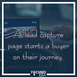 A landing page is also called a lead capture page, and starts a buyer on their journey.